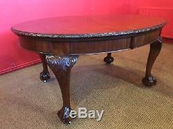 Superbe Style Ancien Chippendale Table À Manger En Acajou Cubain, Brillant Français