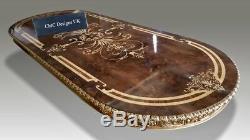 Superbe Table À Manger En Marqueterie De Ronce De Noyer Grand Burr