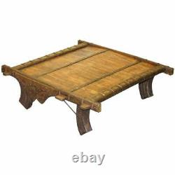 Superbe Table Basse Antique Tibétaine Étonnante De Bois Récupéré Et De Métal Liée