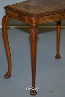 Superbe Vintage Ronce De Noyer Lampe De Table Côté Richement Cadre Sculpté Pieds Lion