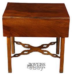 Swc-a Table Chippendale Pembroke En Acajou Avec Brancards Percés, Ct, C. 1780