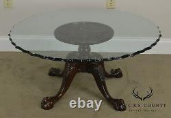 Table À Café En Verre De Style Chippendale De Boule Et Griffe D'acajou Sculptée