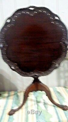 Table À Dessus Inclinable Sculptée Vintage Chippendale Pie Crust