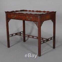 Table À Lampes À Tiroir Vintage Chippendale Style Flamme Acajou Chinois Vintage