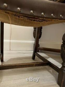 Table À Manger Et Chaises En Chêne Sculpté À La Main Anglaise Harrods Des Années 1940, Ww2 Chippendale
