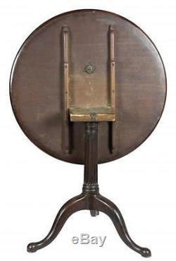 Table À Plateau Inclinable Chippendale Dishtop De Swc-rare, Avec Colonne À Roseaux, Newport V. 1760