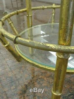 Table À Tablette En Verre À Deux Niveaux En Métal Doré, Faux Bambou, Chine Chippendale