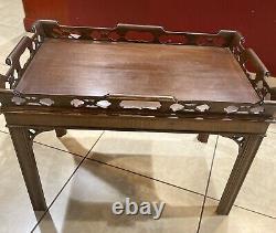 Table À Thé Acajou Antique Avec Plateau À Thé Amovible Chippendale Style Vintage