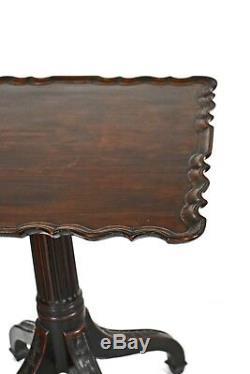 Table À Thé Avec Plateau Inclinable En Acajou Sculpté De Style Chippendale Géorgien