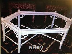 Table Basse Chinoise En Faux Bambou Chippendale Hexagonale De Style Hollywood Regency