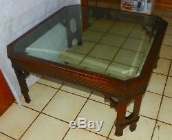 Table Basse Dessus En Verre Acajou Chinois Chippendale (ct166)