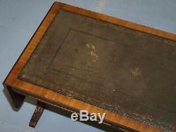 Table Basse Extensible En Acajou Et Cuir Vert Vintage En Cuir Sculpté