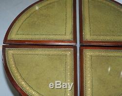 Table Basse Garnie Vintage En Cuir Vert Et Acajou Et 4 Petites Tables Nid
