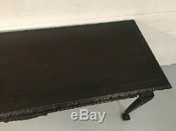 Table Console Antique Chippendale Très Sculptée Boule Et Pied De Griffe Vers 1900