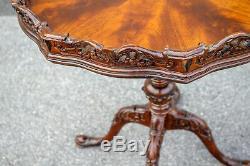 Table D'appoint Chippendale En Croûte De Tarte Acajou