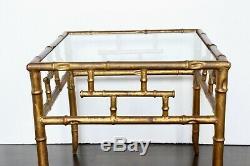 Table D'appoint Chippendale Vintage Italienne Dorée En Faux Bambou Chinoiserie Régence