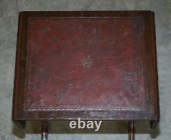 Table D'appoint En Cuir Oxblood Décontraction Vintage Extension Top Great Games Table