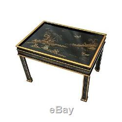 Table D'appoint Vintage Laque Noire Drexel Heritage Asian Chinoise Chinoiserie Chinoise