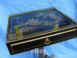 Table D'appui Vintage Laque Drexel Heritage Noir Or Laqué Chinoiserie Mini