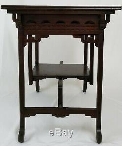 Table De Bibliothèque Chinoise Chippendale Salle De Bureau En Noyer Sculpté Asiatique Vintage Antique