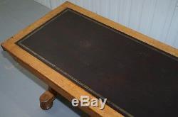 Table De Bibliothèque De Réfectoire En Cuir De Chêne De 1840 Avec Club Naval Et Militaire In & Out