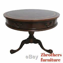 Table De Bout De Tambour Vintage En Cuir Southhampton Avec Griffe Chippendale, Bout En Acajou