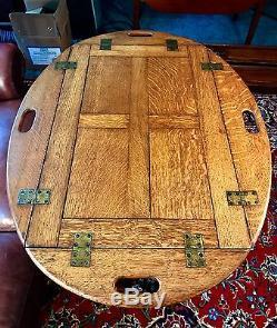 Table De Maître D'hôtel Victorienne En Chêne Antique V. 1880