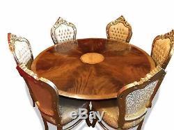 Table De Salle À Manger Circulaire En Acajou Incroyable De 5w Sunburst Flame, Poli, Français