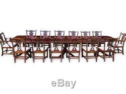 Table De Salle À Manger En Acajou Brésilien De Style Régence De Triple Piédestal De 14 Pieds