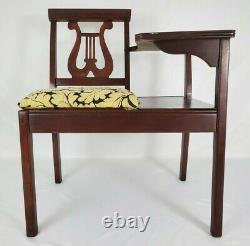 Table De Téléphone Ancienne Gossip Chaise Hall Banc Harp Lyre Chippendale Vintage