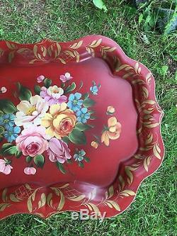 Table De Tole Manteau De Cheminée Floral Antique Peint A La Main Rouge Vintage