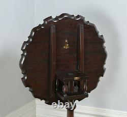 Table De Trépied En Croûte De Tarte À La Cage D'oiseau De Style Chippendale Géorgien Antique