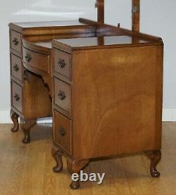 Table Et Tabouret Vintage Burr Walnut Avec Miroirs Triples Partie De Suite