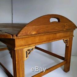 Table Vintage Lane Chippendale Butler Café Avec La Chute Des Feuilles Côtés 1117 30