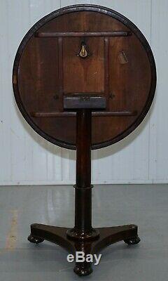 Tableau Rare William IV Rosewood Ronde Tilt Haut Carte De La Lampe À Vin Fin Occasionnel