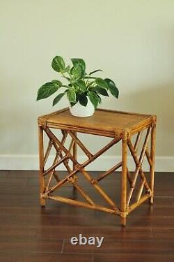 Tables De Nidification Du Rotin Vintage, Chippendale Asiatique Nesting 3 Table Set-boho Coastal