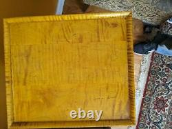 Tiger Maple Set Side Table Plus Assortiment 5 Tiroir Coffre (nouveau) Compartiment Couvercle