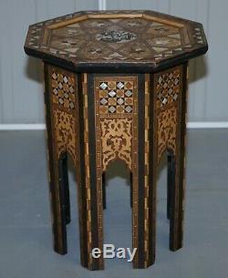 Très Rare Circa 1900 Mère Syrienne Pearl Avec Marqueterie Marqueterie Side Table