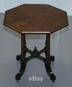 Très Rare Gillow & Co 1852-1857 Mouvement Esthétique Amboine Ebonised Table D'appoint