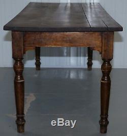 Très Rare Table De Salle À Manger De Réfectoire À Trois Planches De Noyer De Style Victorien, Jas Shoolbred & Co