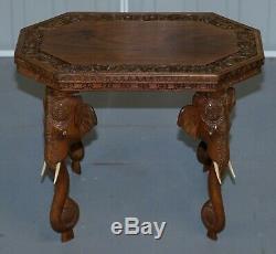 Un Beau Petit Circa 1920 Anglo Éléphant Indien Sculpté À La Main En Bois De Rose Table D'appoint