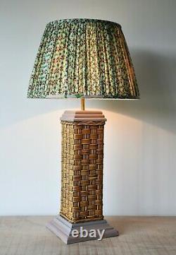 Une Paire De Soane Britain Style Vintage Rattan Witan Brass Hall Lampes De Table Latérales