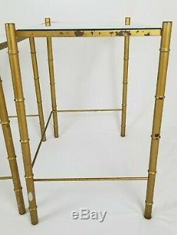 Verre Vintage Faux Bambou Métal Or Top Nesting Tables Chinois Chippendale