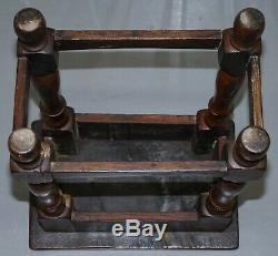Vers 1800 Burr Oak Joint Tabouret Beau Bois Très Worn Patinés Table D'appoint
