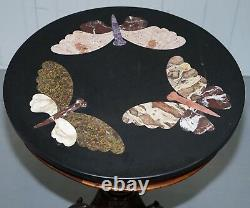 Vers 1870 Pietra Dura Marble & Mahogany Centre Tripod Table Butterfly's Griffin