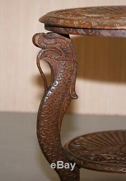 Vers 1880 Birmans Sculpté Peacock Fin Main Side Lampe De Table En Bois Vin D'occasion