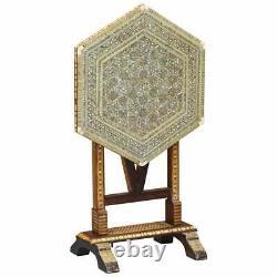 Vers 1880 Marocaine De La Liberté De Londres Mère Maure De Perle Pliant Table À Thé