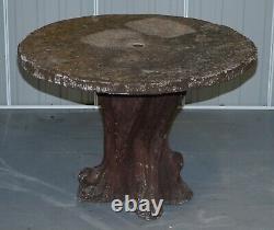 Very Rare MID Century Circa 1950's Français Faux Bois Garden Table & Four Chairs Very Rare MID Century Circa 1950's