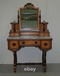 Victorian 1880 Continental Burr Satinwood Table De Dressing Italien Marbre Top