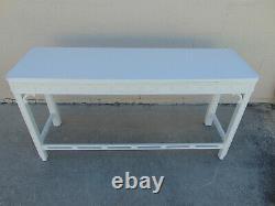 Vieille Console Fretwork Table Laquée Blanc Chippendale Palm Beach